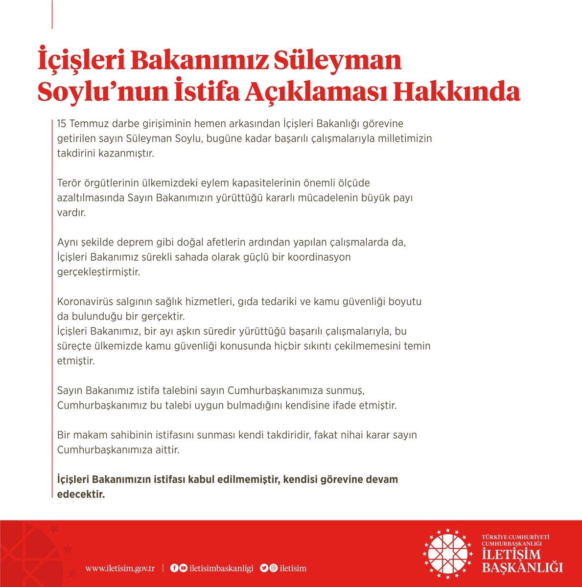 """T.C. İletişim Başkanlığı on Twitter: """"İçişleri Bakanımız Süleyman ..."""