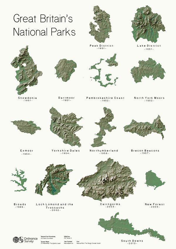 Without labels would you recognise your local National Park? Each National Park is uniquely shaped because of it's local features such as Geology or it's river systems. Can you think as to why each one is shaped that way?  Can you spot the @BroadsNP on here at a glance? #mapweek