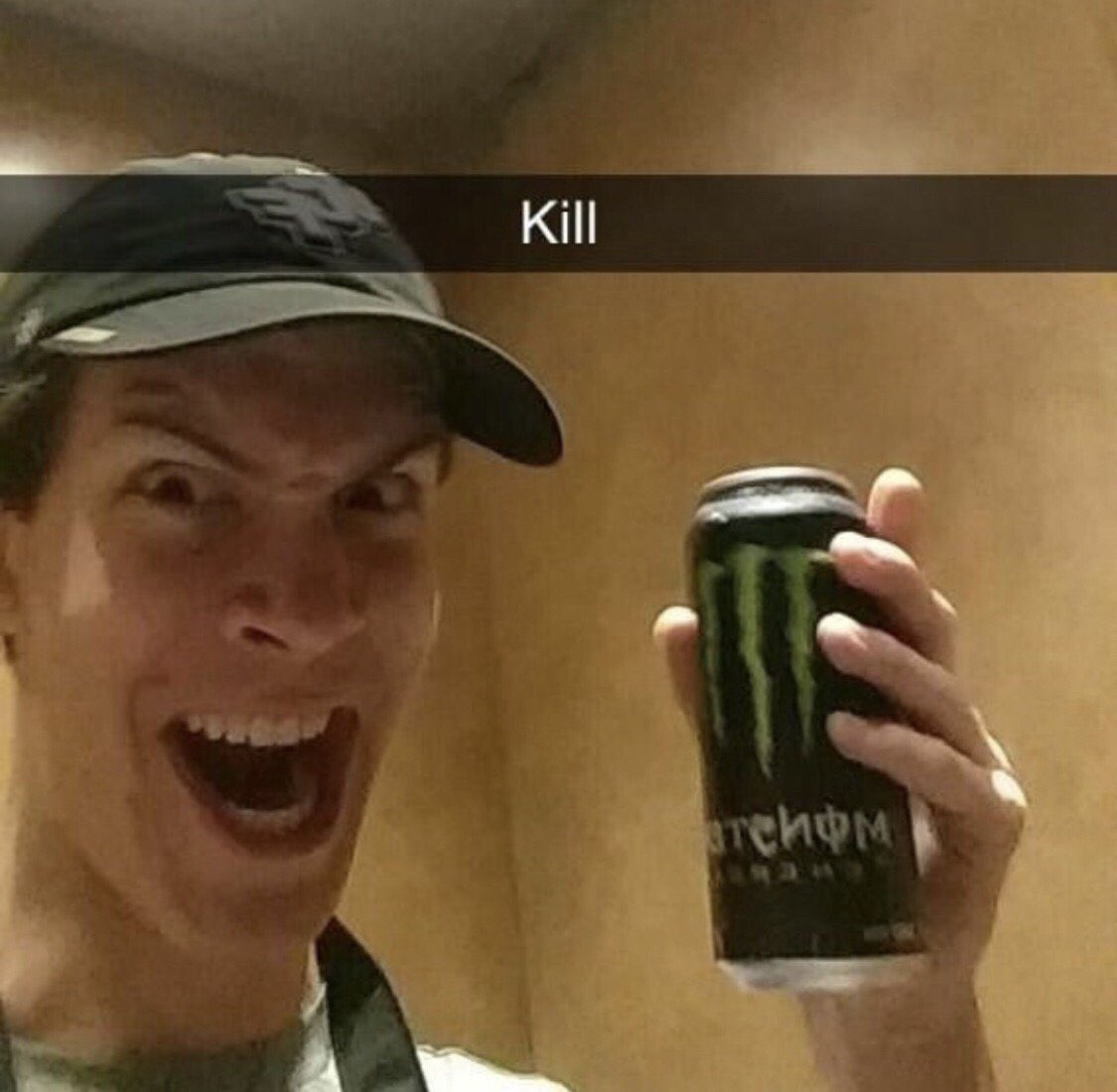 Reactions On Twitter Man With Monster Energy Drink Can Kill Crazy Smile