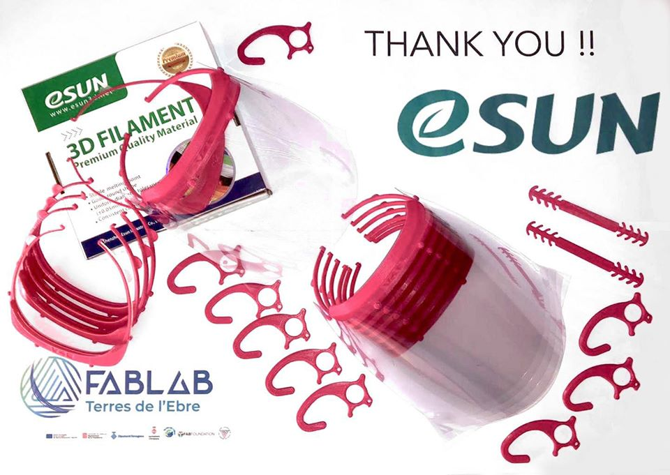 #eSUN joins Fablab help protect those on front line fighting against COVID-19 at Terres de l'Ebre by donating filament to the Maker community currently providing Visors to healthcare professionals & police force.   Here're visors print with #PLA+ magenta