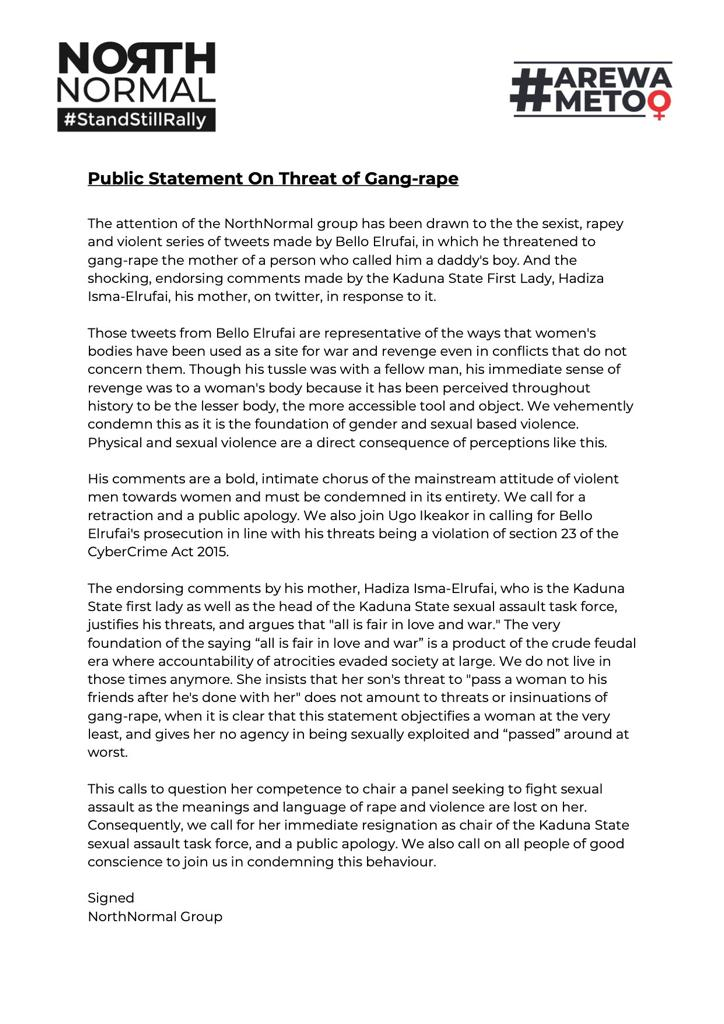 NORTH NORMAL PUBLIC STATEMENT ON GANG RAPE THREATS https://t.co/SWmNUeH9iK