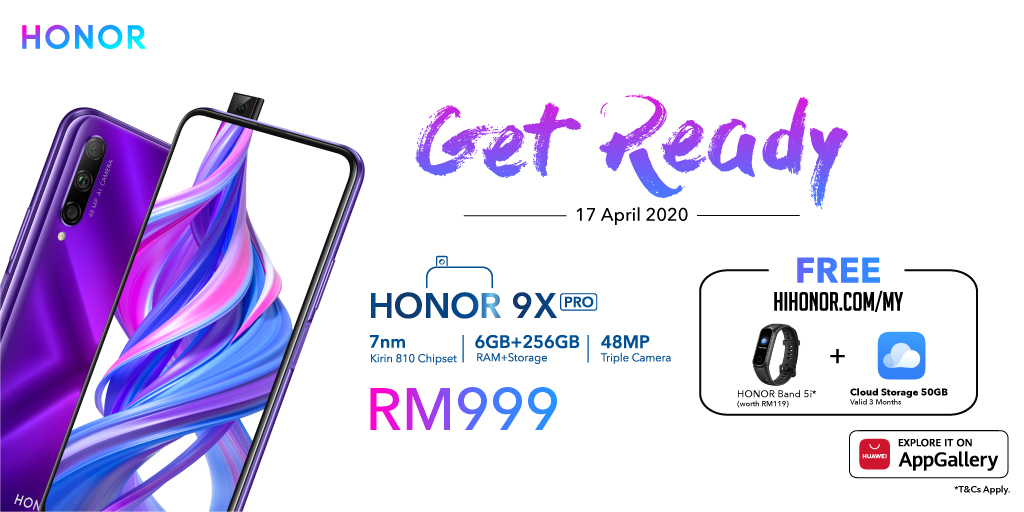 Ready for our #HONOR9XPRO first sale? We're giving you a FREE #HONORBand5i and 3 months of 50GB cloud storage when you purchase it on HIHONOR! Click notify now to be the first one to own an HONOR 9X Pro 😎https://t.co/Iu2IkqDkPa https://t.co/bGJauvRtNS