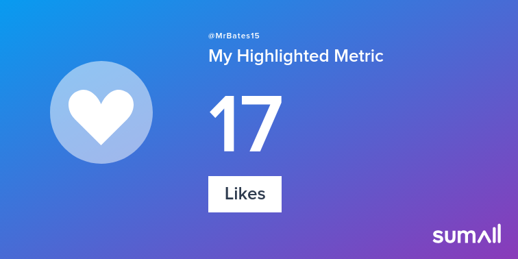 My week on Twitter 🎉: 17 Likes, 1 New Follower. See yours with sumall.com/performancetwe…
