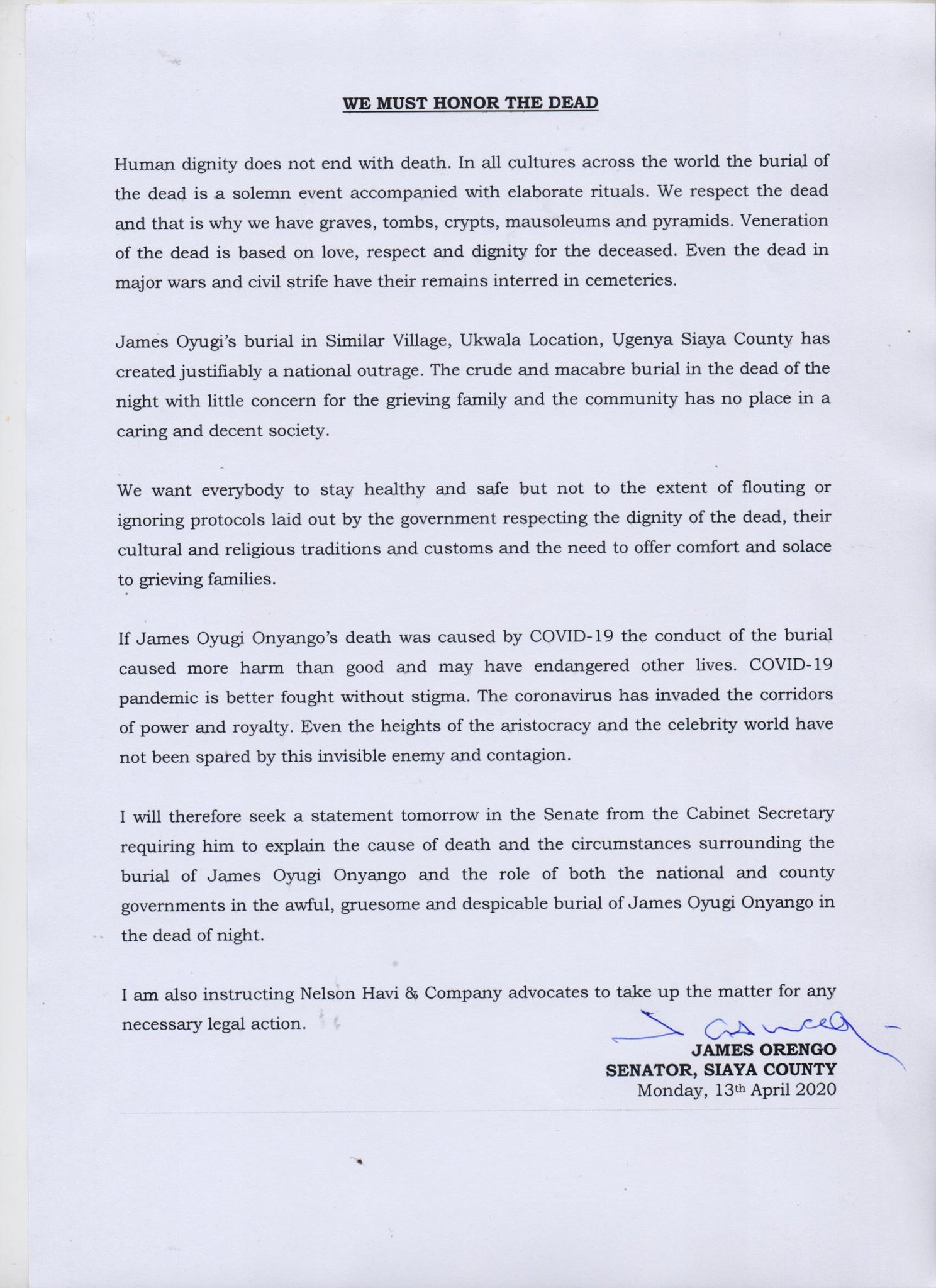 Orengo Takes on Govt Over Bizarre Burial of Siaya Covid-19 ...