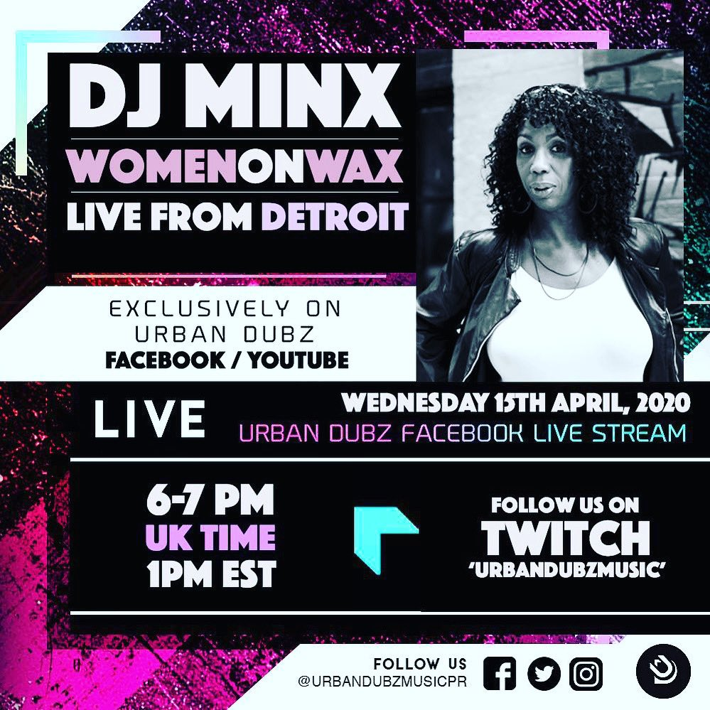 Special guest streaming LIVE from Detroit USA, DJ Minx of Women of Wax bringing the House  This Wednesday 6-7pm GMT / 1pm EST @djminxwomenonwax #facebooklive #facebooklivestream #housemusic #houseparty #classichousemusic #fortheloveofhouse @urbandubzevents @WomenOnWaxpic.twitter.com/xfNBpMUMUu