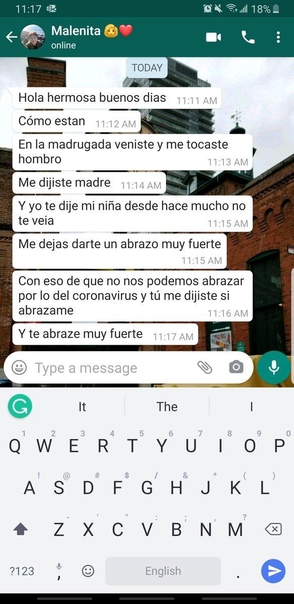 En la madrugada abrace a mi Mama en su sueño ! Este mensaje me hizo llorar y me hizo muy feliz tambien  te amo mami  besos y abrazos virtuales hasta Mex pic.twitter.com/xMxhNpJIFs
