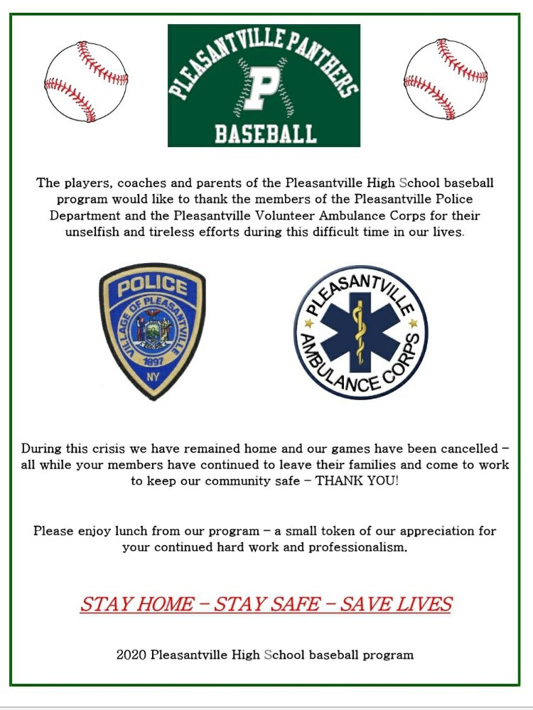 We are proud to support Pleasantville's first responders as they work tirelessly to support our community during these unprecedented times. Thank you to all essential workers! #stayhome https://t.co/37yZRGt19M