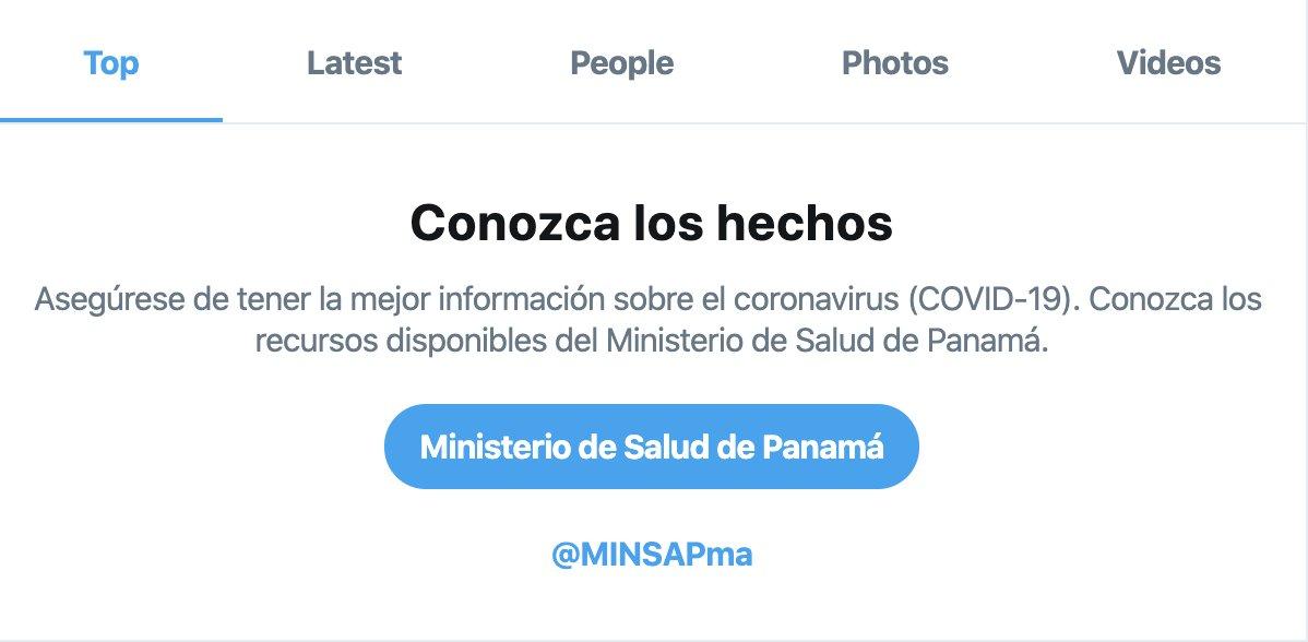 Seguimos expandiendo la localización de nuestro aviso de búsqueda sobre COVID-19. Ahora también disponibles en Panamá gracias a la colaboración de @MINSAPma.