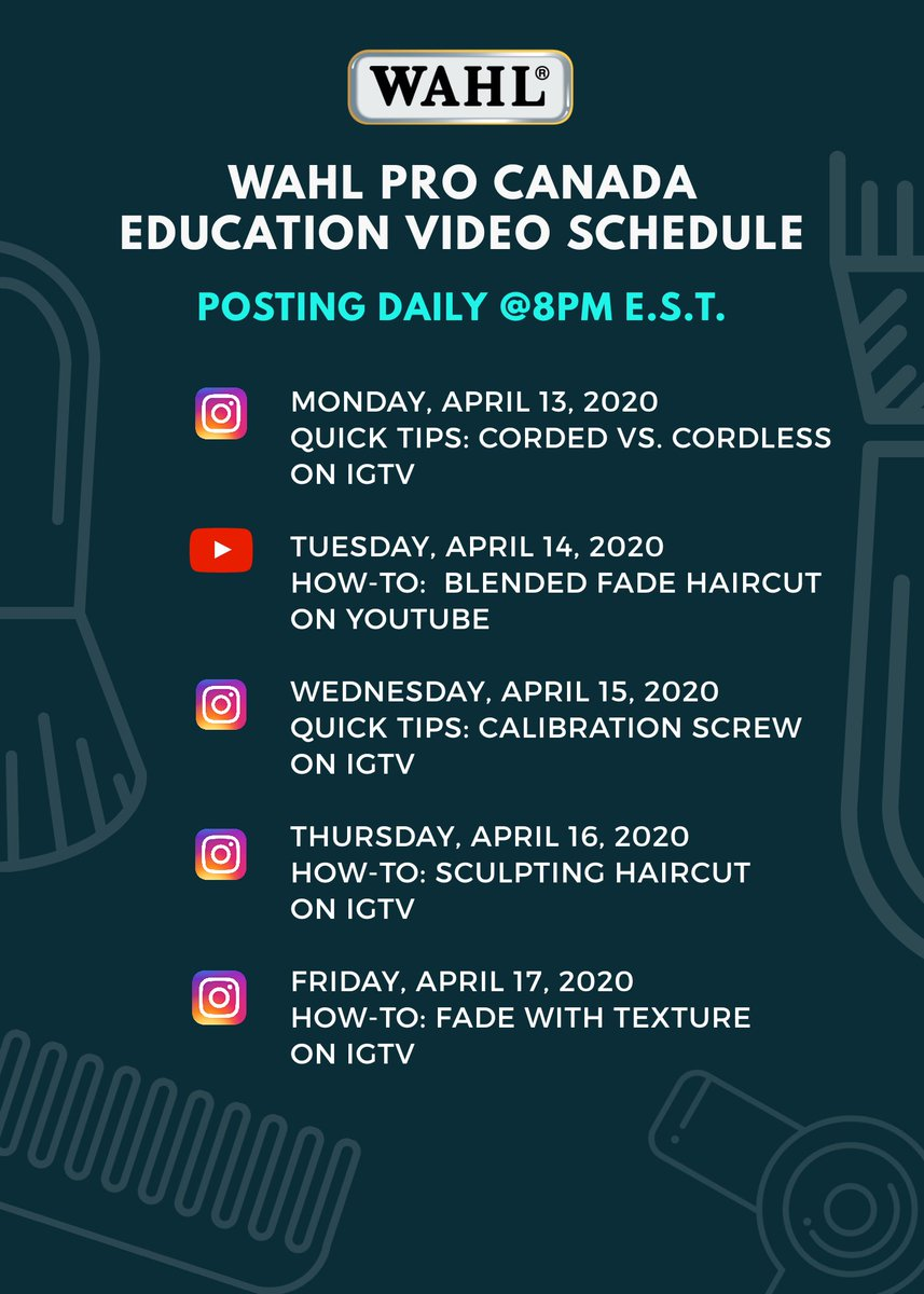 We are back in session! Check out our #WahlSchool Wahl Pro Canada Education schedule for this week for Barbers & Hairstylists! Check out our IGTV on Instagram https://www.instagram.com/wahloffame/channel/…  #canadianbarbers #barbereducation #barbering #haireducation #barbers #hairstylist #wahloffamepic.twitter.com/fcqCSnl3qT