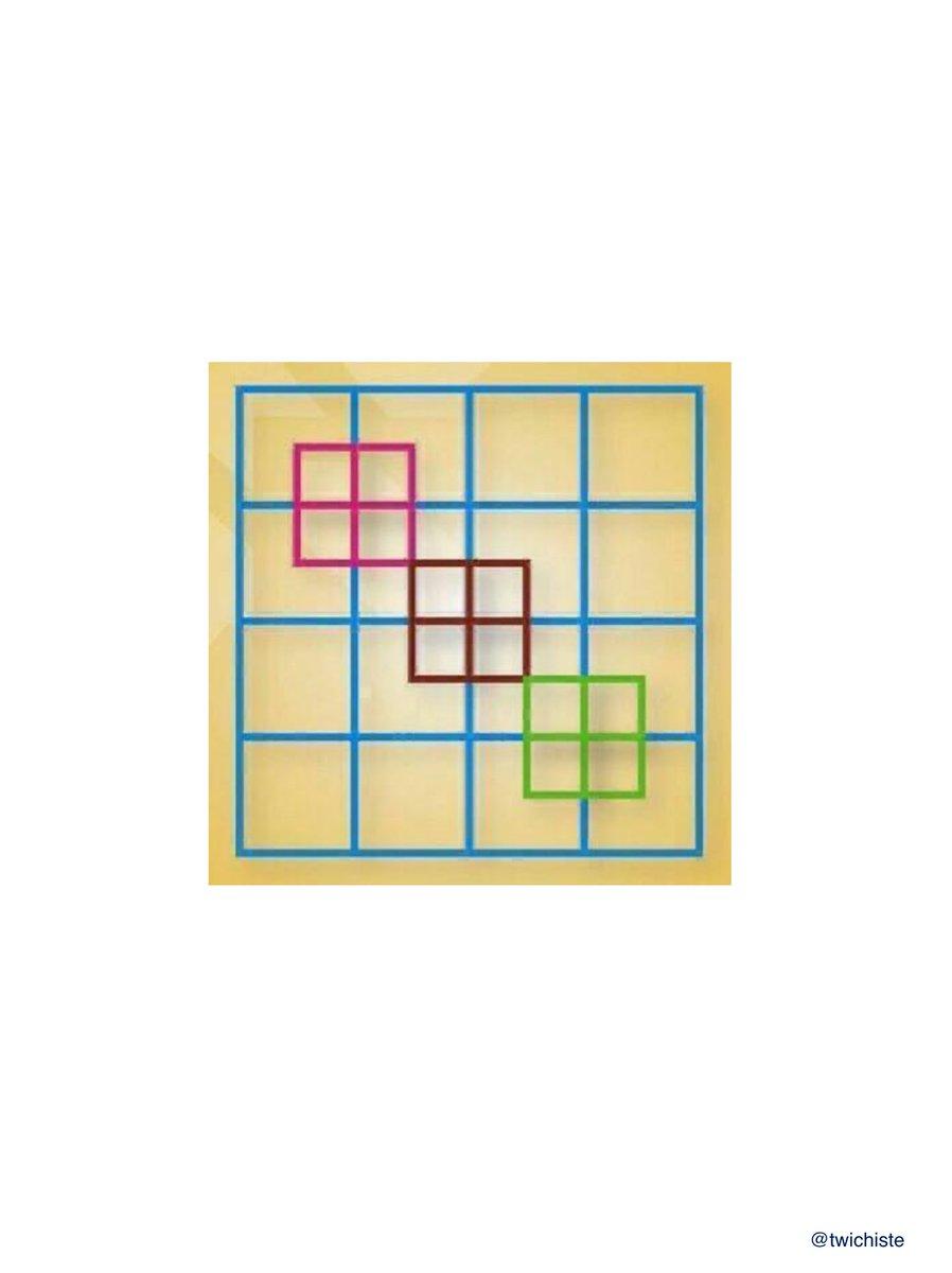 Problema dificultad de Facil Solo para Inteligentes que estan haciendo la cuarentena del #coronavirus :)  ¿Cuántos cuadrados crees que hay en esta imagen? https://t.co/FBn8f5vceD