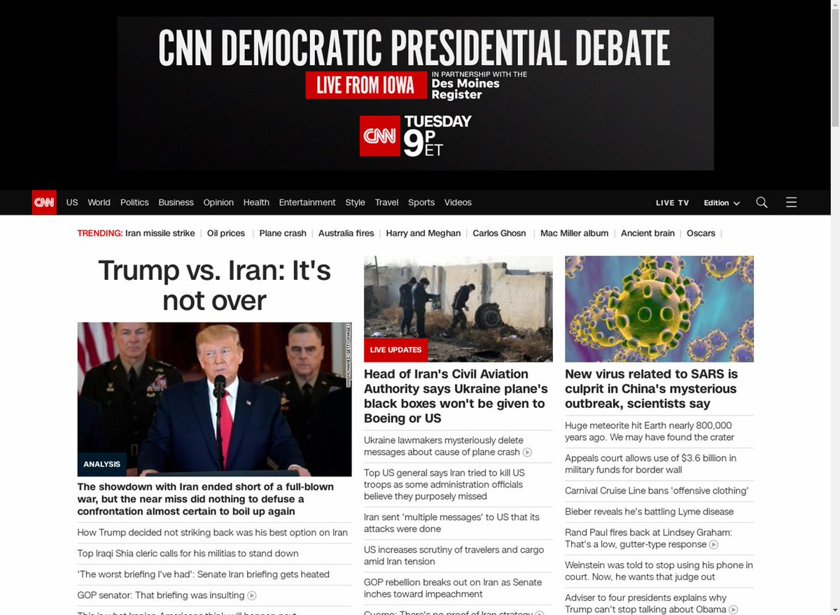 Top right corner of the CNN homepage on January 9th.
