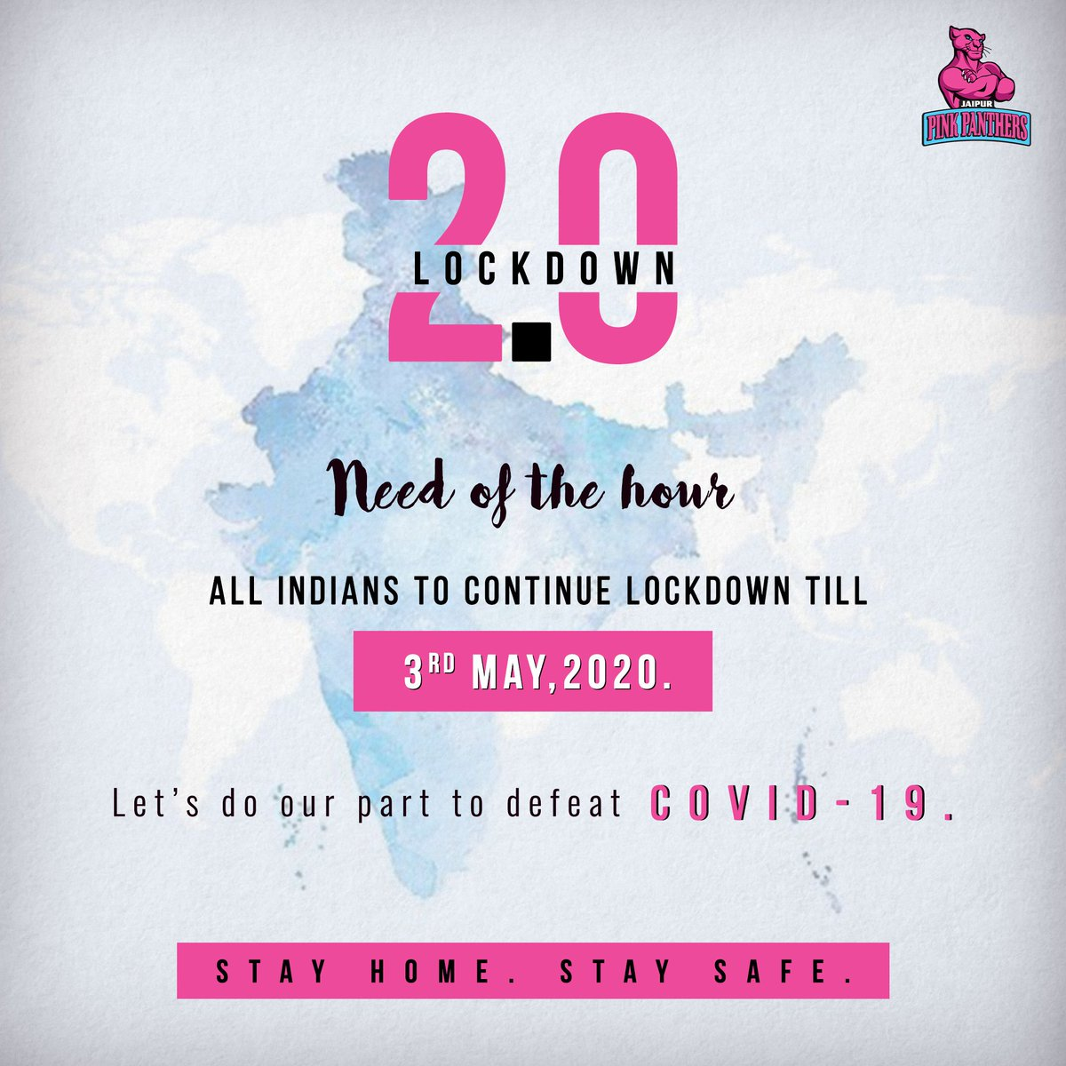 We've managed to stay apart, and have fought well together.  The need of the hour is to continue to play our part until May 3, 2020.  Maintain social distancing, #StayAtHome and #StaySafe. We'll roar together and get past this.  #Lockdown2 #StayHome #StaySafe #RoarForPanthers