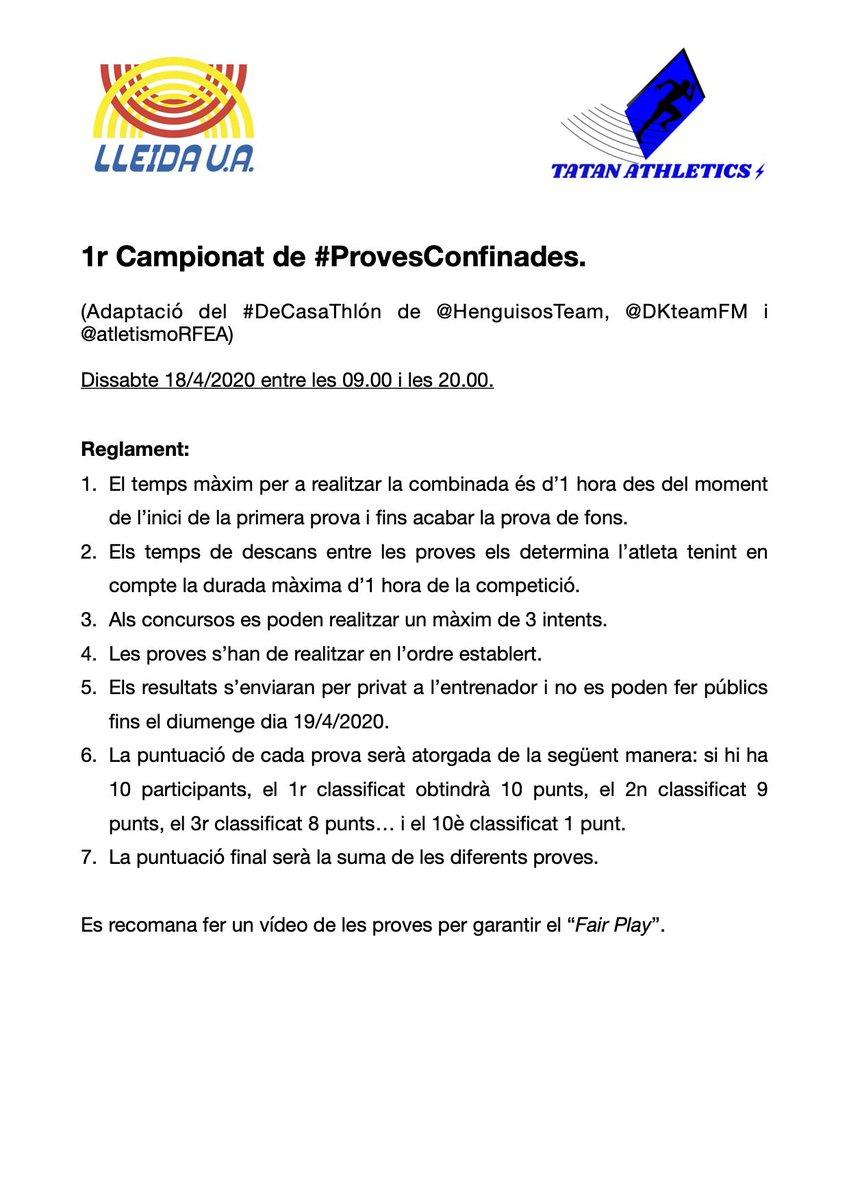 Els atletes de promoció del @lleidaua ja tenen el 1r Campionat de #ProvesConfinades, una adaptació del #DeCasaThlon de @HenguisosTeam @DKteamFM i @atletismoRFEA. Adjunto el reglament per si algú més es vol animar! @CarrerLliure @Atletisme_FCA