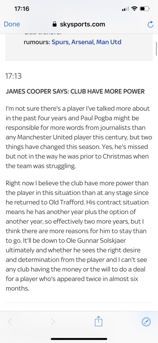 James Cooper on Pogba. Looks like a Pogstay is just as likely if not more, than a departure. #mufc