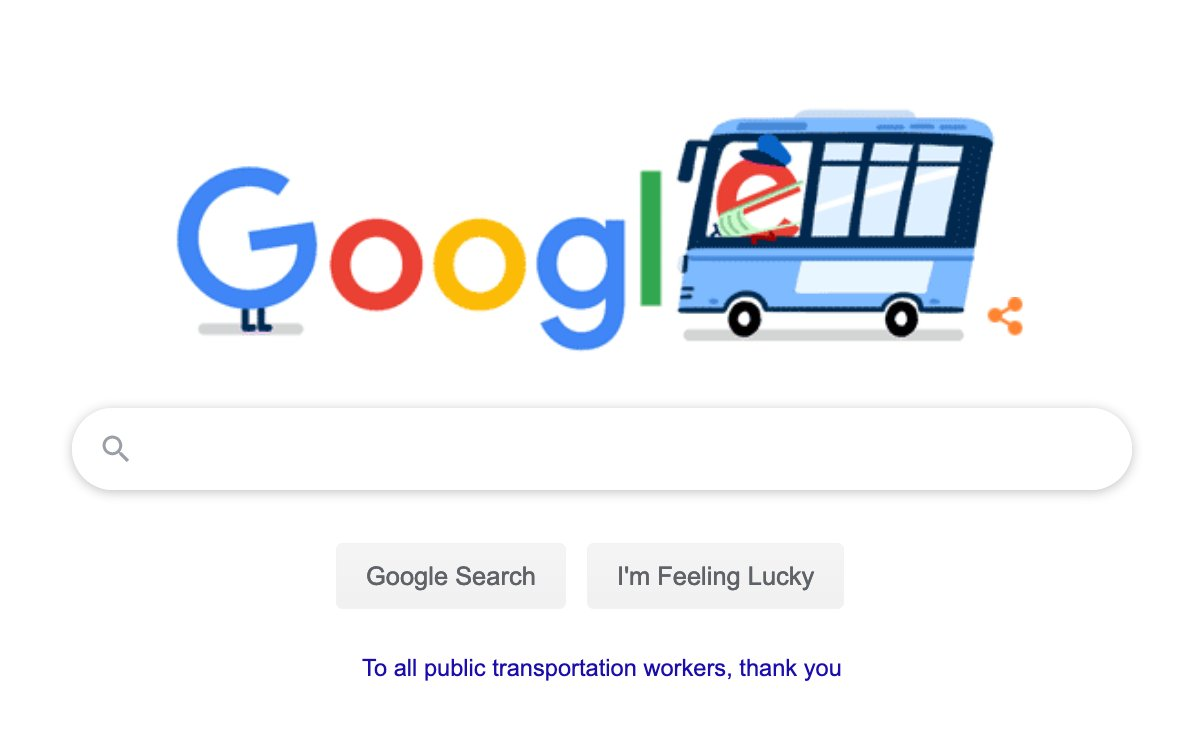 Thank you, @Google, for recognizing the sacrifice and dedication of transit workers in this crisis!