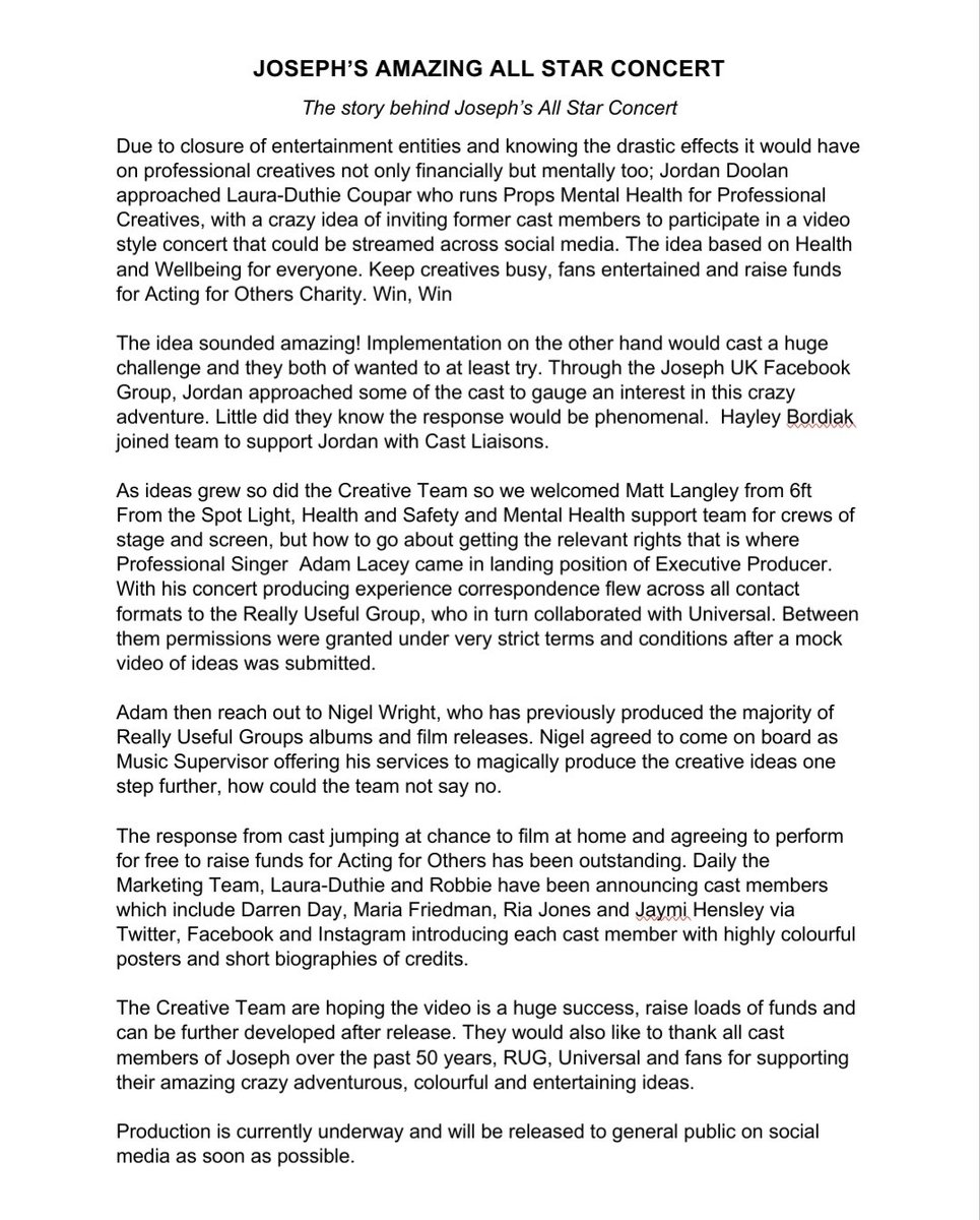The Story Behind  🌈 Joseph the All Star Concert 🌈 @TheStage @WhatsOnStage @SkyNews @KayBurley @seandilleyNEWS  @JaymiUJWorld @keithjack @DarrenDOfficial @MariaFriedman1 https://t.co/xZIvqLfroc