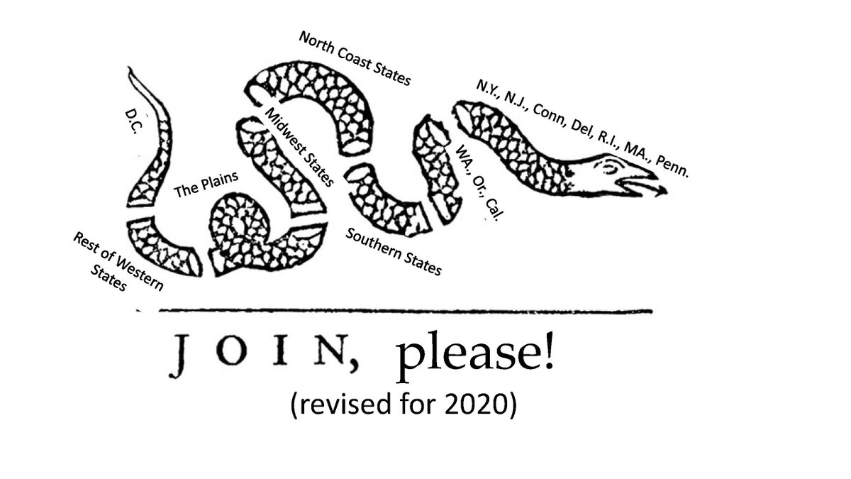 With 7 east coast states & 3 west coast states leading the way on coordinating and unifying efforts, does this call for an updating revision of Franklins (supposedly) 1754 political cartoon calling for union?