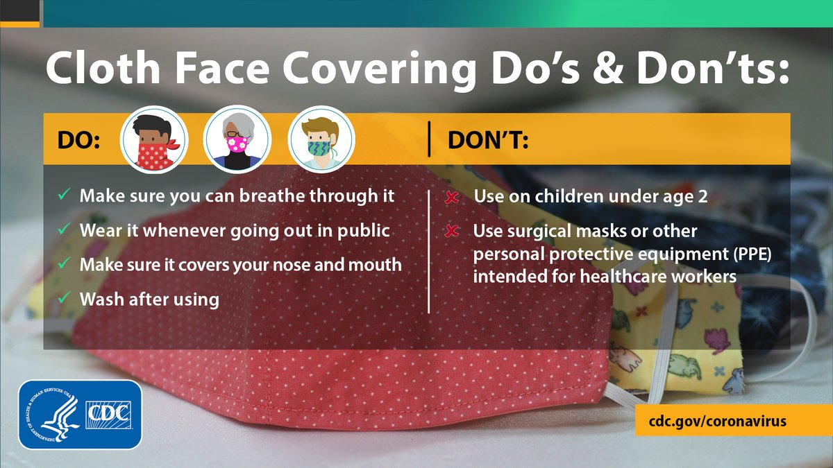 "Wearing a cloth face covering CORRECTLY can help prevent the spread of #COVID19 to others. When you go out on essential trips, follow these ""do's"". If you have a child, remember those under age 2 should not wear a cloth face covering. See https://t.co/7oiKNyULb7 https://t.co/TOitiUTXuD"