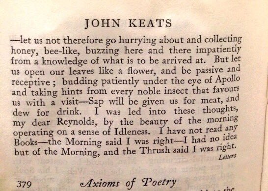 """""""I was led into these thoughts, my dear Reynolds, by the beauty of the morning operating on a sense of Idleness. I have not read any Books--the Morning said I was right""""    ~ John Keats"""