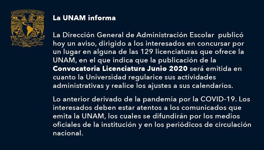UNAM aplaza convocatoria a examen de admisión por coronavirus y hasta que se regularice la situación