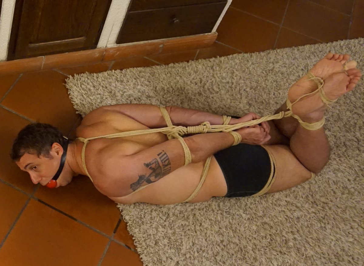 Slave gets dominated by his mistress in the barn on the floor
