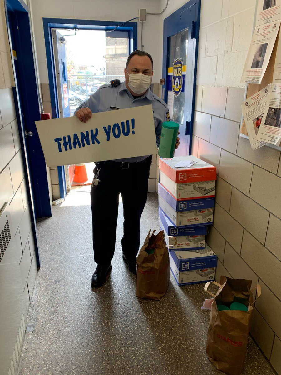 Thank you @StaplesStores for the generous donation of sanitizing wipes. The officers of the @PPD03Dist are highly appreciative! https://t.co/q32TvYi6mM