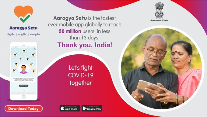 Aarogya Setu app Made record, 5 crore users downloaded in 13 days