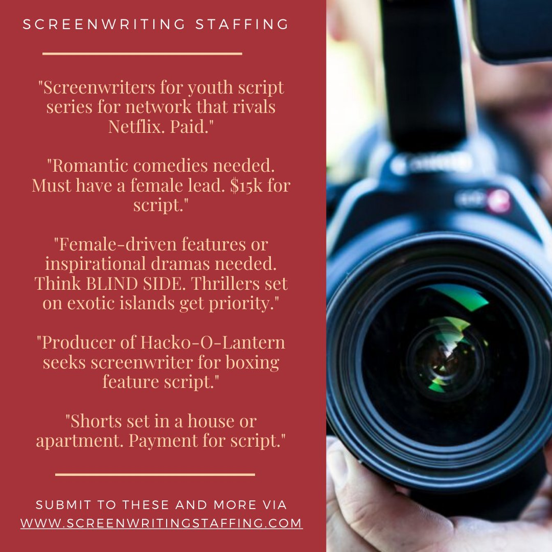 2 Weeks, A Plethora of #Screenwriting Jobs/Script Searches.  Newest #screenplay leads: https://mailchi.mp/screenwritingstaffing/12-new-screenwriting-leads-1059849?e=1079f80296…  Much larger list: http://www.screenwritingstaffing.com/screenwriting-jobs-script-searches…  #writerslife #writers #hollywood #wgastaffingboost #filmmakers #filmproducers #filmdirectors #indiefilms #filmming #tvwriterspic.twitter.com/Hj2qz4qiTm