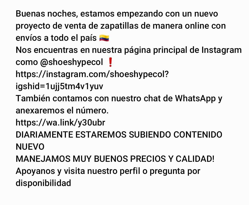 INSTAGRAM: https://instagram.com/shoeshypecol?igshid=1ujj5tm4v1yuv… WHATSAPP: https://wa.link/y30ubr   #Colombia #sneakers #zapatillas #tennispic.twitter.com/PPbCorXRIl