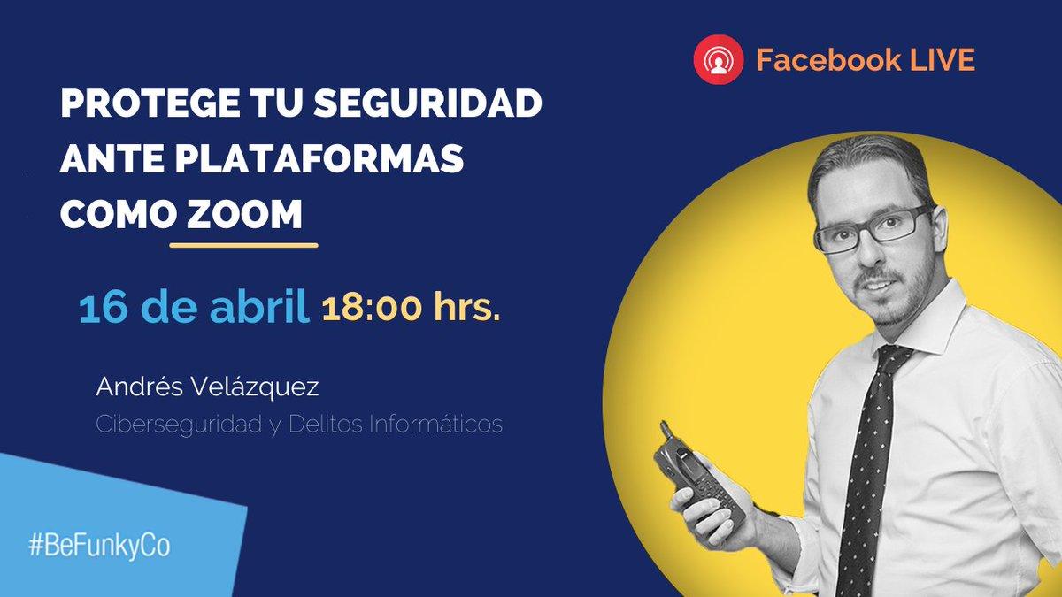 ¿Sabes qué tan expuesta podría estar tu información al usar plataformas como #Zoom? Conéctate a nuestro Facebook LIVE en la plática que tendremos con Andrés Velázquez @cibercrimen, experto en Seguridad y Delitos Informáticos.  #Videoconferencia #zoombombing #vulnerabilidad https://t.co/ntlLga46Gi