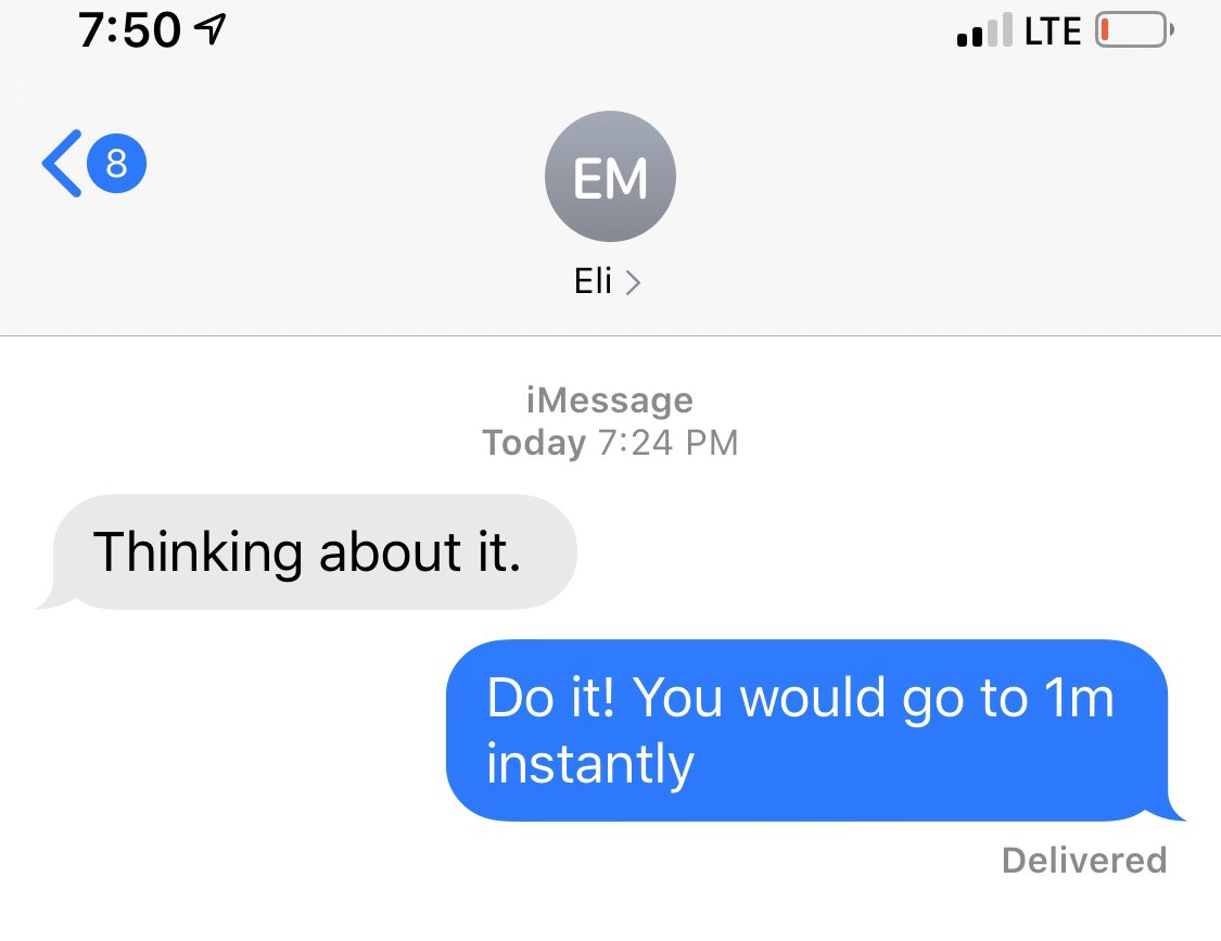 I had a really nice text exchange with a QB friend of mine telling him he needs to activate a Twitter account. Here is the reply, fingers crossed 🤞🏼 https://t.co/vvH5hV2VPO