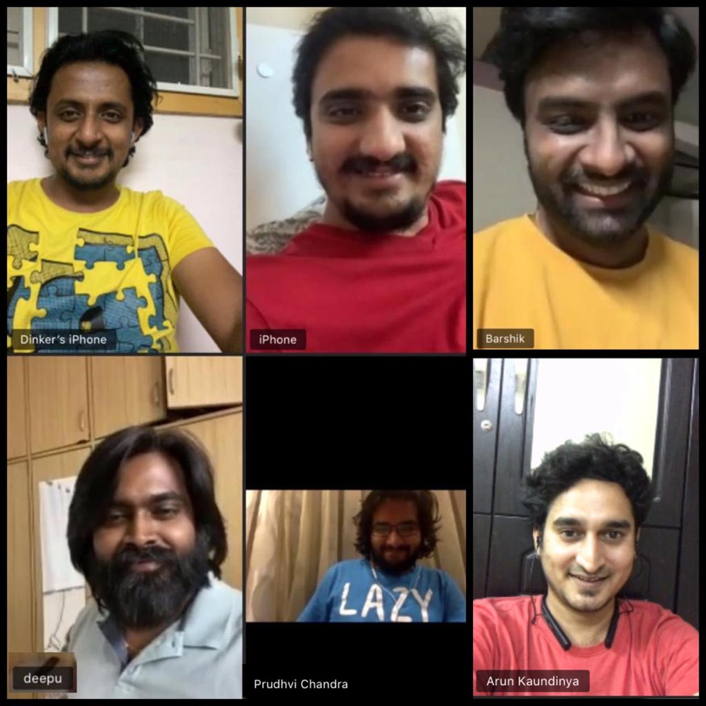 Kickass live session with my bestie rockstars.. Been a while since I laughed so much.. @itsvedhem Krishna Chaitanya , Dinker, @deepu_music , @arun_kaundinya #telugusingers #prudhvichandra #videocallpic.twitter.com/qvPyy2BTIC