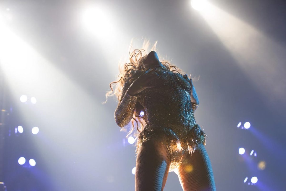 Beyonce opens her mr carter world tour in a sequined bodysuit with faux breast detailing