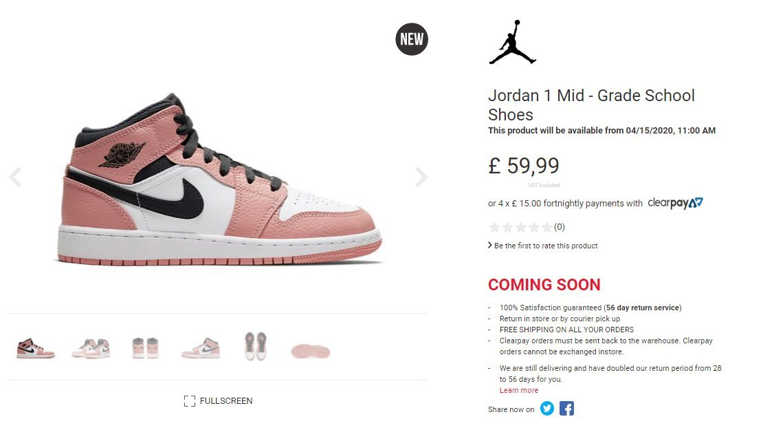 air jordan 1 mid rose quartz
