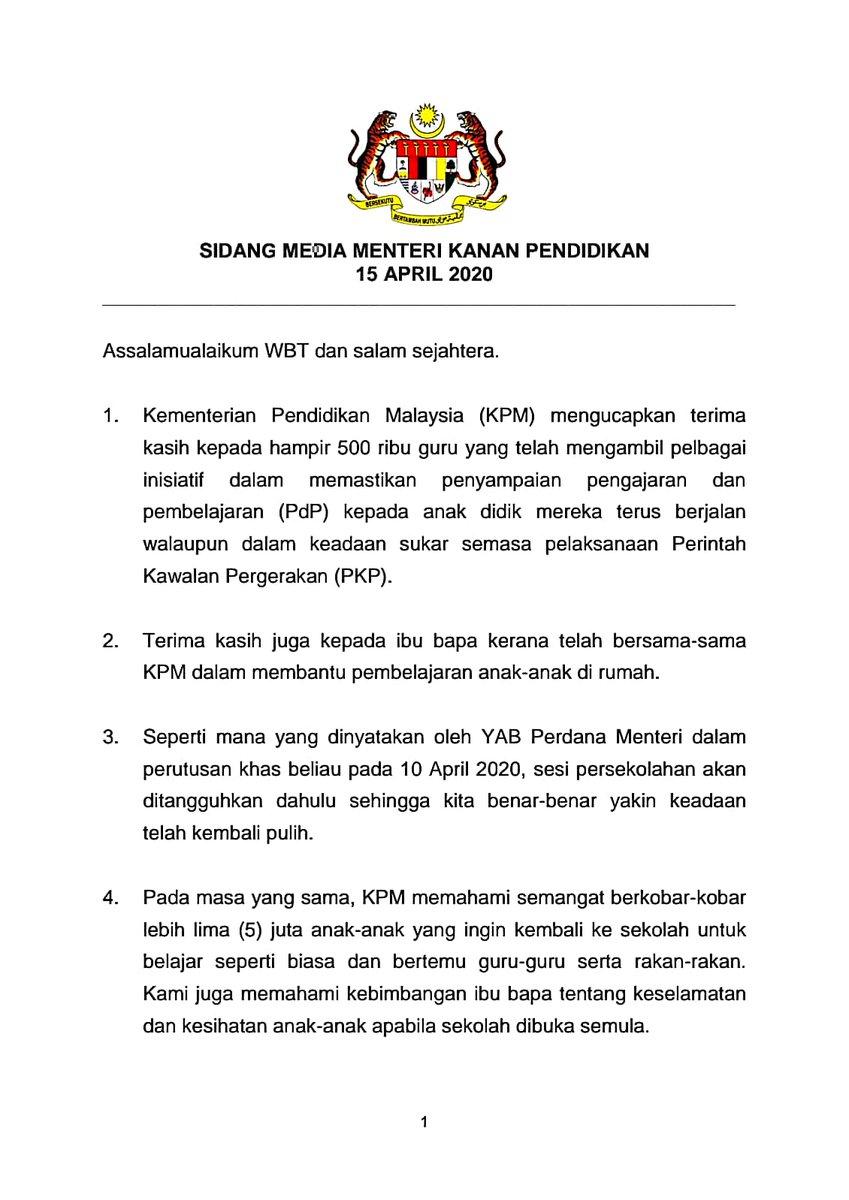 Jab Perdana Menteri On Twitter Teks Ucapan Sidang Media Menteri Kanan Pendidikan Sumber Kementerian Pendidikan Malaysia Jabatanperdanamenteri Kkmm Covid19 Perintahkawalanpergerakan Malaysiabebascovid19 Dudukrumah Socialdistance