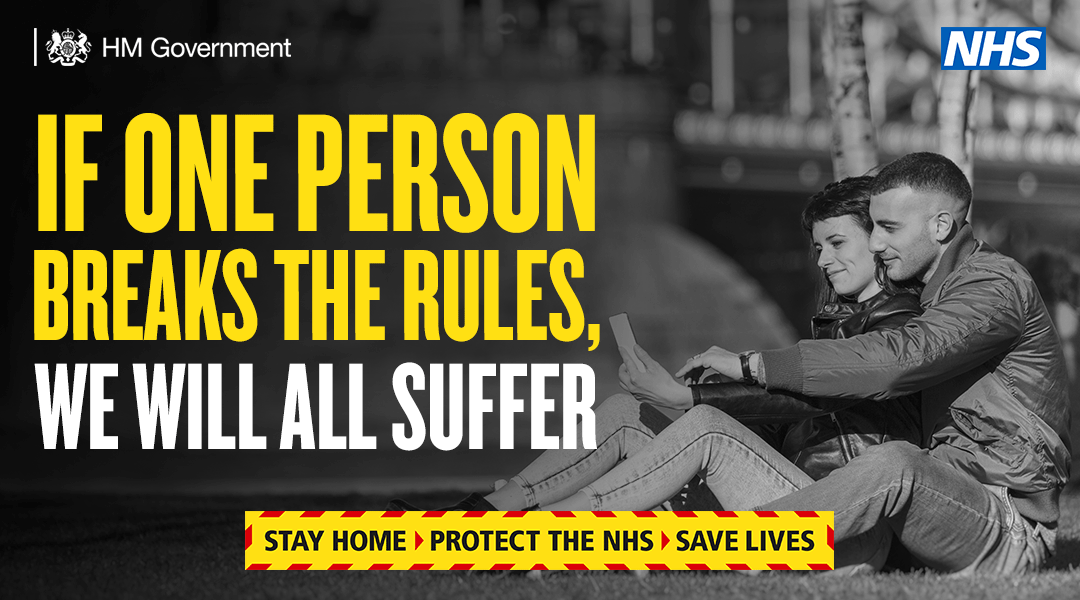 Don't break the rules. If you do, it won't just impact you. #StayHomeSaveLives