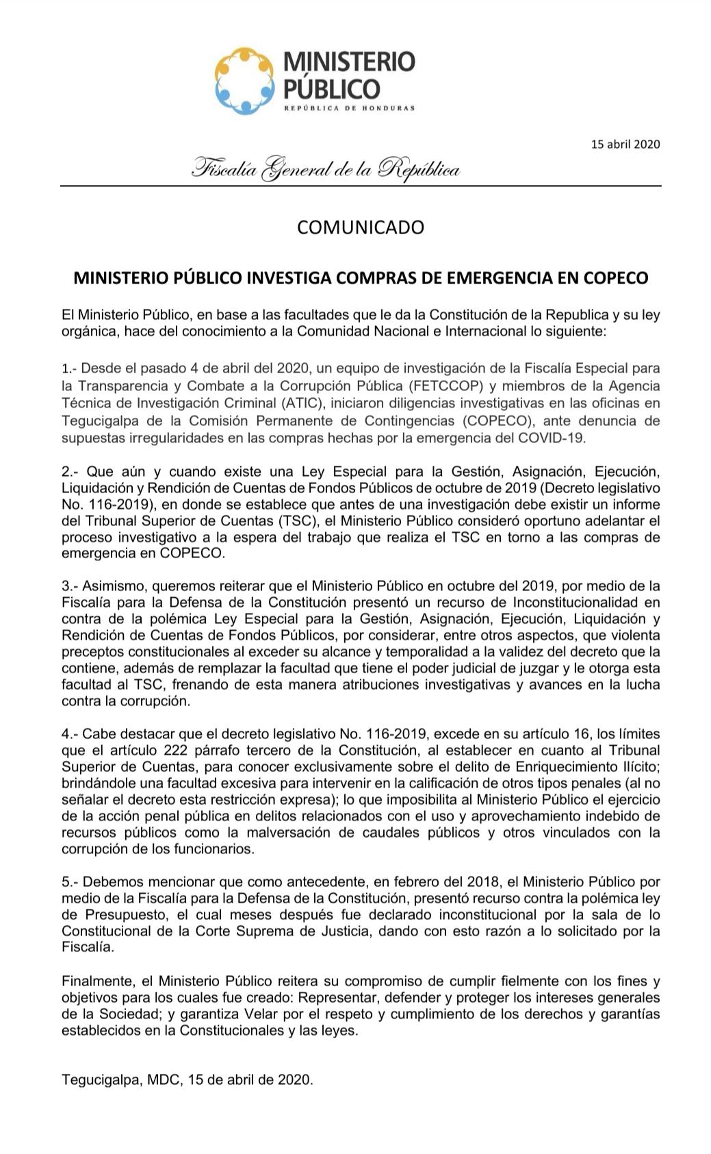 Abren investigación por compras en COPECO bajo emergencia por COVID-19