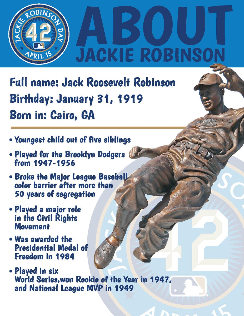Parents, here's a thread of children's activities to help teach your kids about Jackie Robinson!  Let's start with some fun facts. #Jackie42 https://t.co/QyZmF1U7VL