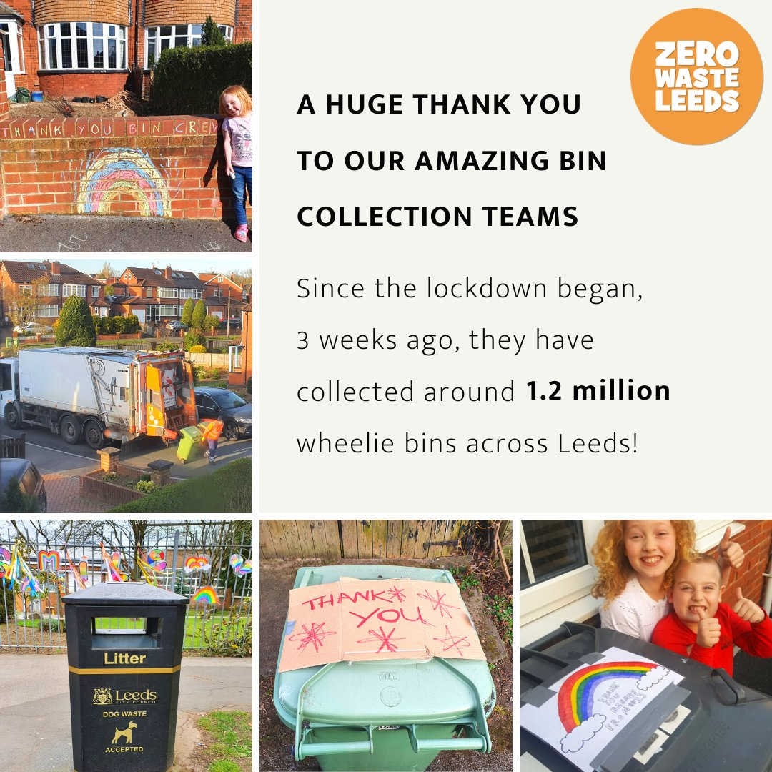 We would just like to say a HUGE thank you to our amazing bin collection teams! 🌈 Since the lockdown began, 3 weeks ago, they have collected around 1.2 million wheelie bins across Leeds! Thats around 13,000 tonnes of waste! Keep up the amazing work 👏👏👏
