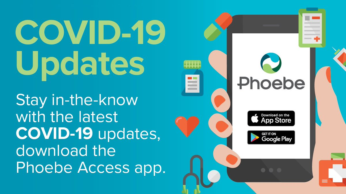 Have you downloaded our Phoebe Access app? 📲 Our app is a great way to stay up-to-date on the latest #COVID_19 information. Get all the latest updates, at home self-isolation tips and FAQs right in the palm of your hand. 😷 https://t.co/RvWk6279O3