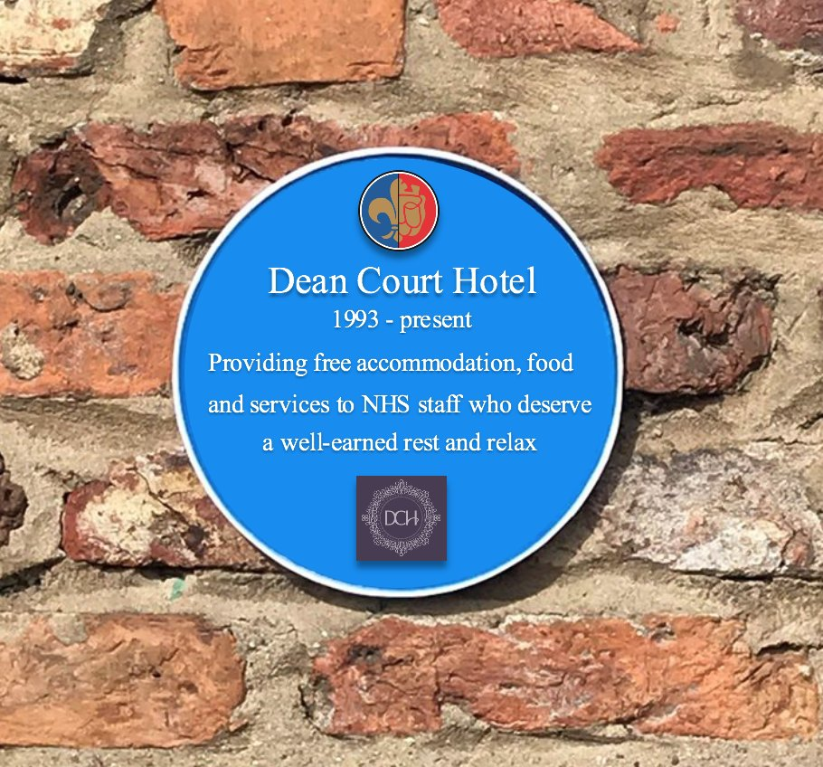 Ruth Griffin nominates the Dean Court Hotel (@DeanCourtYork) who are providing free stays for NHS key workers, allowing them to get some well-deserved rest between shifts.  #PersonaliseaPlaque https://t.co/YfEPFDoj4i