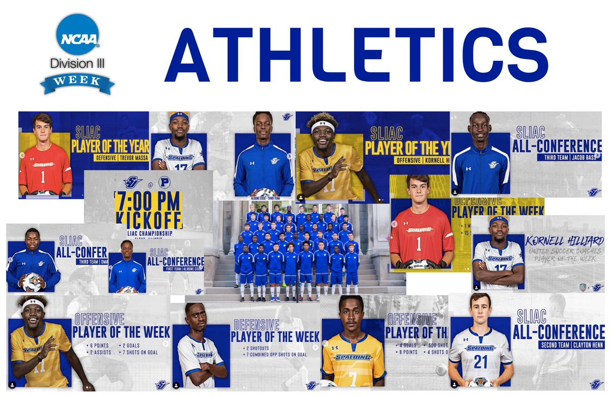 For #D3Week... some highlights from ATHLETICS ⚽️ over last year: @SLIAC Players of the Year @UnitedCoaches All-Region @SLIAC All-Conference @SLIAC Players of the Week @UnitedCoaches National Player of the Week @SLIAC Tournament 13 wins + 3 ties #whyd3 #athletics #studentathlete