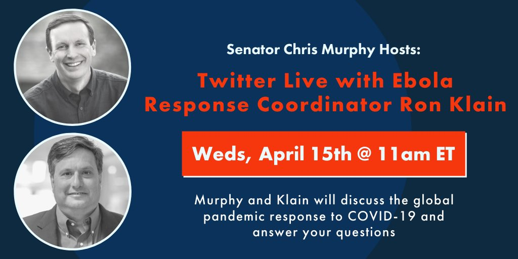 Chris Murphy On Twitter Going Live At 11am Et With Ronaldklain To Talk About The Global Pandemic Response To Covid 19 What Went Wrong And How We Can Fix It Have Questions For