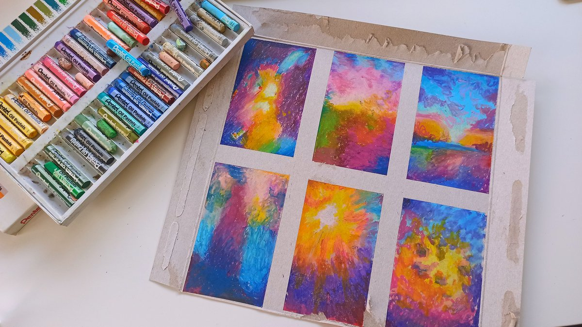 more abstract oil pastel drawings based on photos taken through a face mask   #art #oilpastel pic.twitter.com/I0P9bHXbhC