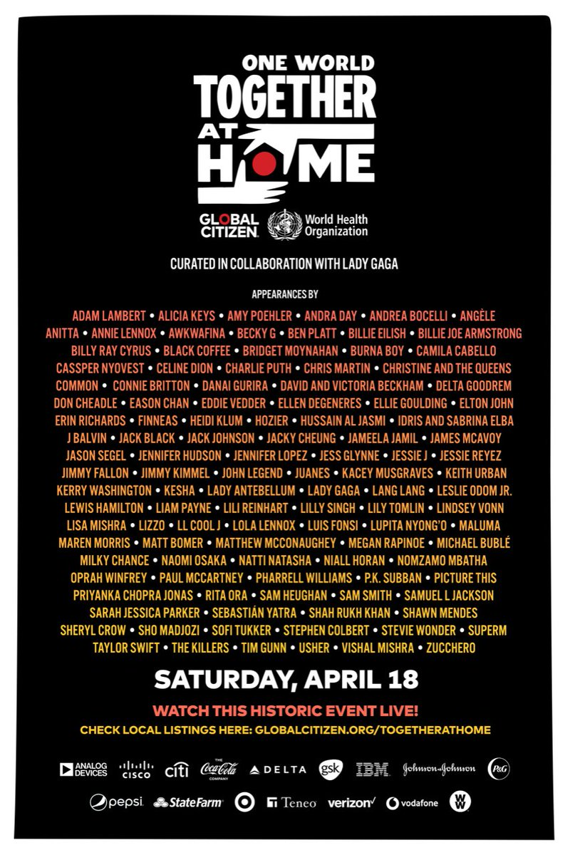 Health care workers on the frontlines of the #COVID19 crisis need our support. That's why I'm standing in solidarity with @glblctzn and @WHO  for One World #TogetherAtHome April 18th, I will be singing a songs from my living room!  Come join us!  ❤️🙏🏻
