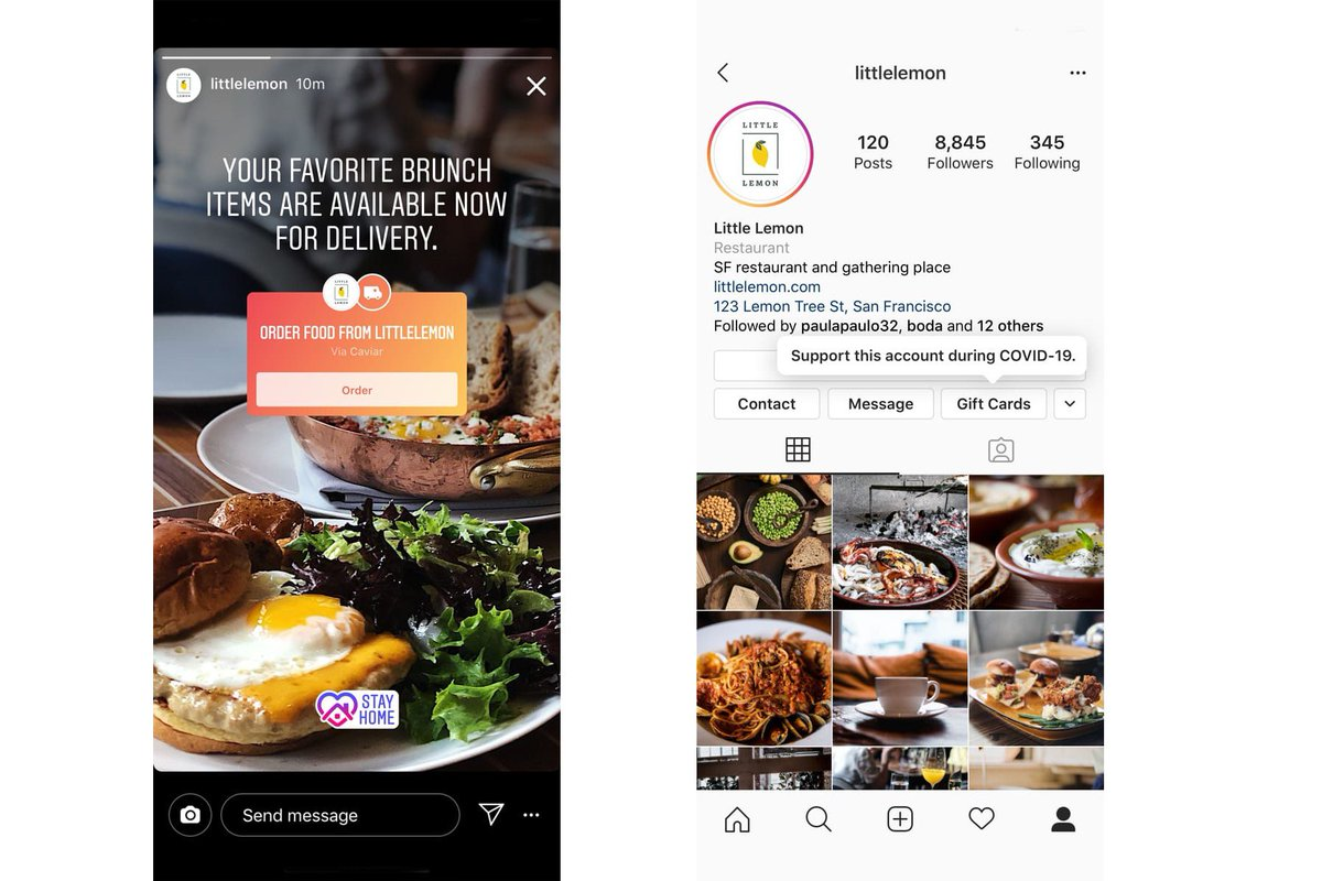 Instagram adds stickers for restaurants to sell gift cards and food delivery
