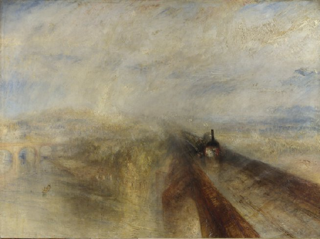 #DíaMundialDelArte 'Rain, Steam, and Speed - The Great Western Railway'(J.M.W.Turner, 1844) #ArteyFerrocarril @NationalGallery  https://www. nationalgallery.org.uk/paintings/jose ph-mallord-william-turner-rain-steam-and-speed-the-great-western-railway  … <br>http://pic.twitter.com/lRWioCOLT5