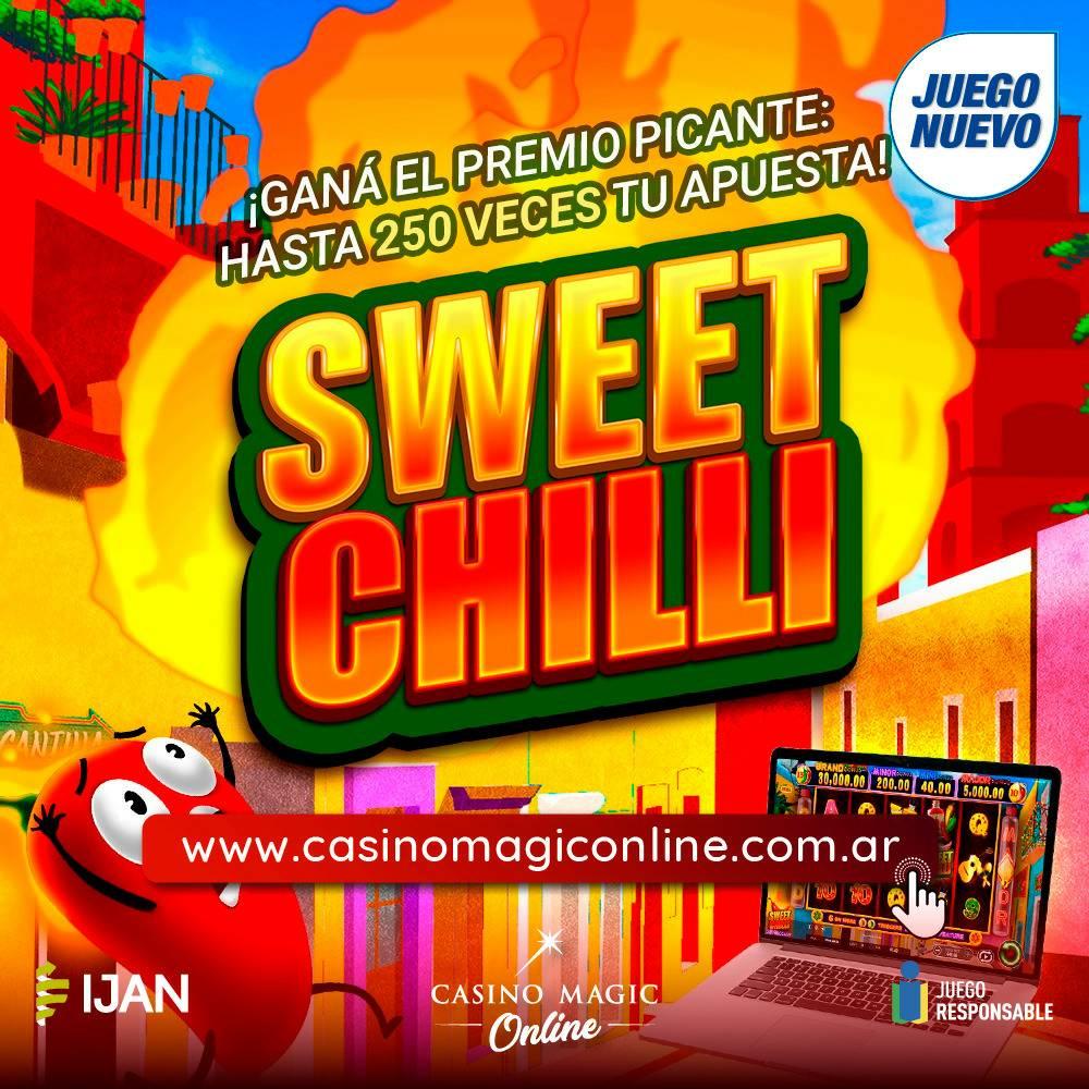 """🎰 Llegó un nuevo juego! """"Sweet Chilli"""" . Divertite desde tu casa! .  #CasinoMagic #Neuquen Todo lo que imaginabas y MÁS! https://t.co/G5nApyfict  #YoMeQuedoEnCasa #JugáSeguro #JugáLegal #Casino #Gambling #Juegos #CasinoGames #JuegosDeCasino #Slots https://t.co/l7FaXtODnl"""
