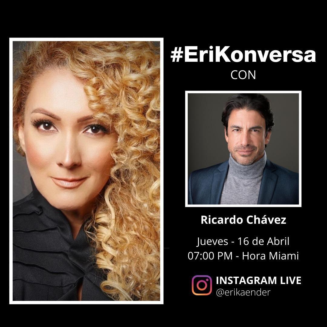 Los espero mañana jueves 16 de abril a las 7 PM hora del este de USA. 🦋🎬🎤🎧🎼🎹😎 #Conectate #RicardoChavez con @erikaender #instagramlive #EriKonversa #actor #cantante #despacito #celebridad #vidadeactor #transformacion #entrevista #platicainteresante https://t.co/fc1dJLtFTV
