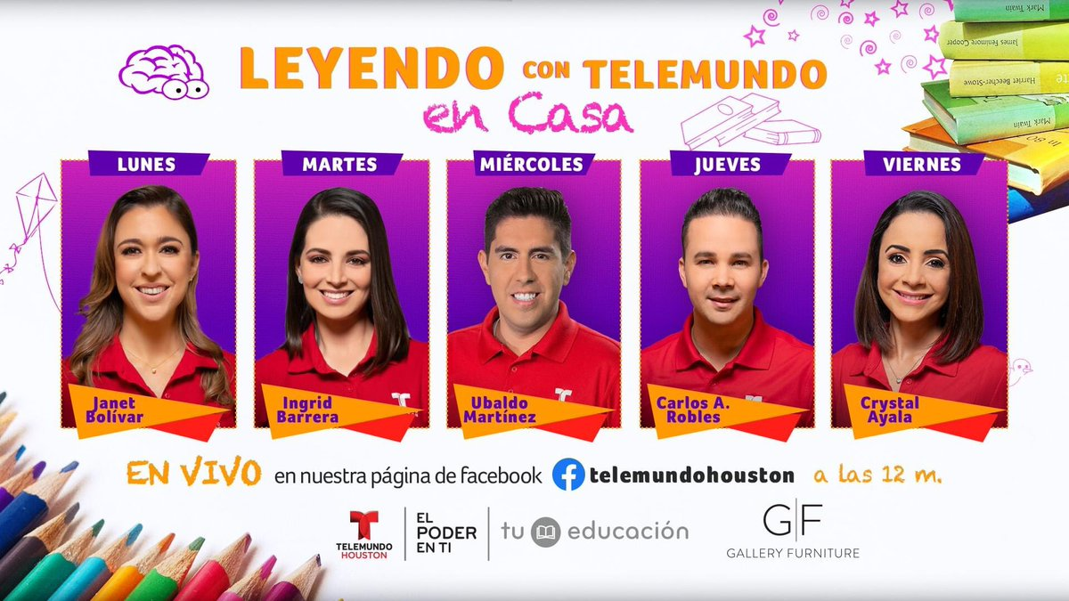 Our corporate sponsor @TelemundoHou has created Leyendo con Telemundo en Casa reading initiative. Telemundo Houston anchors will read to your kiddos Mon-Fri at 12PM on their Telemundo Houston FaceBook page to give parents and families a small break during these challenging times. https://t.co/IyJN39kk5C